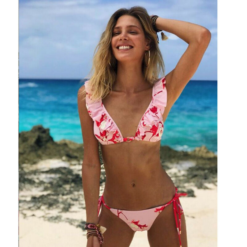 Beach Bikini 2020 Print Ruffle Swimwear Women Halter Bikinis Set Push Up Padded Floral Swimwear Swimsuit Bathing Suit Biquini