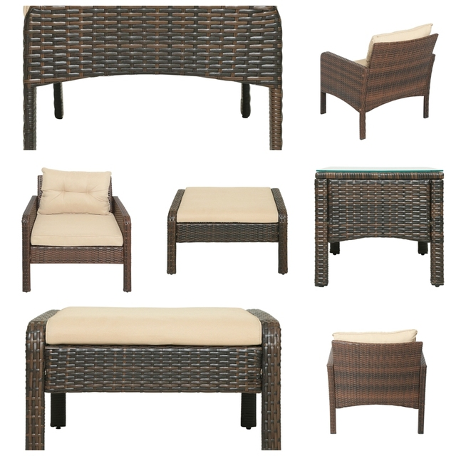5-Piece PE Rattan Wicker Outdoor Patio Furniture Set With Glass Table 5