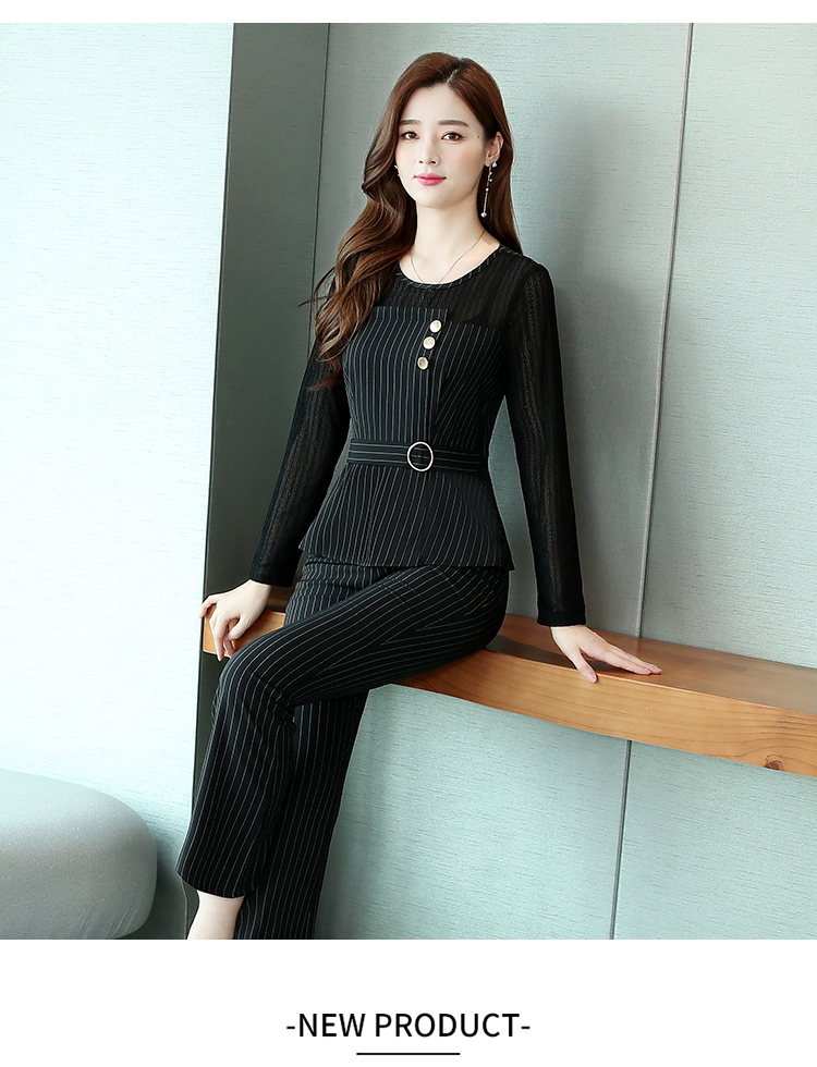 Black Striped Office Two Piece Sets Outfits Women Plus Size Long Hollow Tops And Pants Suits Elegant Korean Ol Style Sets 2020 34