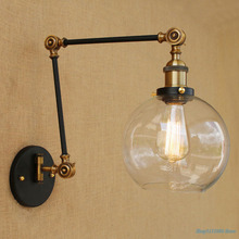 Lámpara de pared de cristal antiguo Vintage aplique de brazo de pliegue largo decoración para pared Retro hogar Luz de sala de estar lámpara Led E27