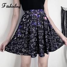 цена Fitshinling Gothic Dark High Waist Women Skirts 2020 Summer Letter Print Harajuku A-Line Saias Punk Grunge Short Pleated Skirt онлайн в 2017 году
