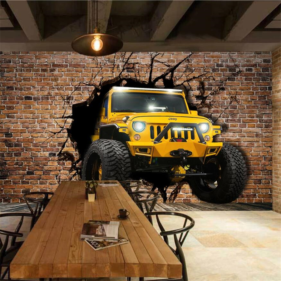 beibehang Custom <font><b>wallpaper</b></font> <font><b>3d</b></font> mural jeep <font><b>car</b></font> broken wall <font><b>3D</b></font> personality <font><b>wallpaper</b></font> mural ktv TV background wall papers home decor image