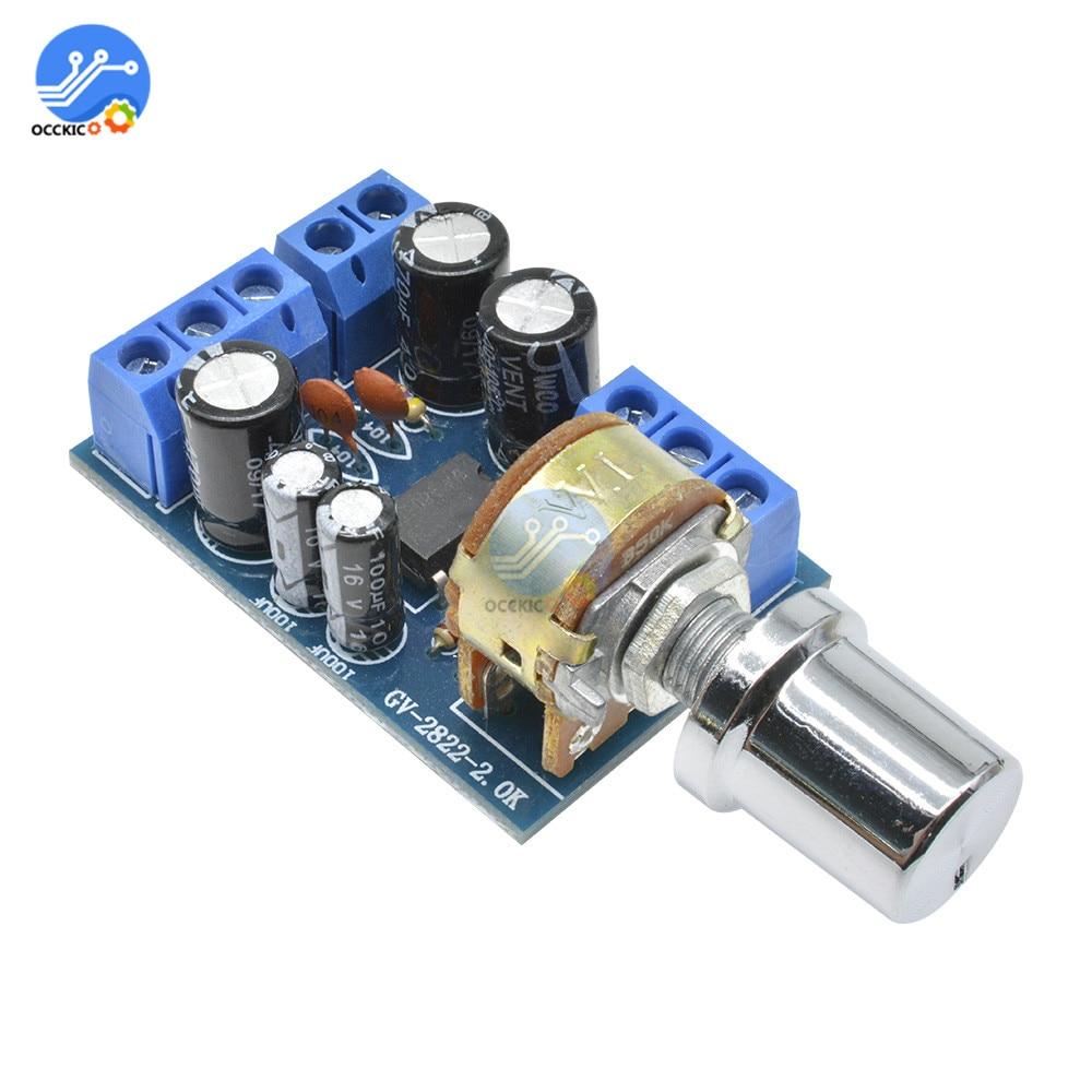 TDA2822M Mini 2.0 Channel 1W*2 Stereo Audio Power Amplifier Board DC 5V 12V CAR Sound Amplifiers Module