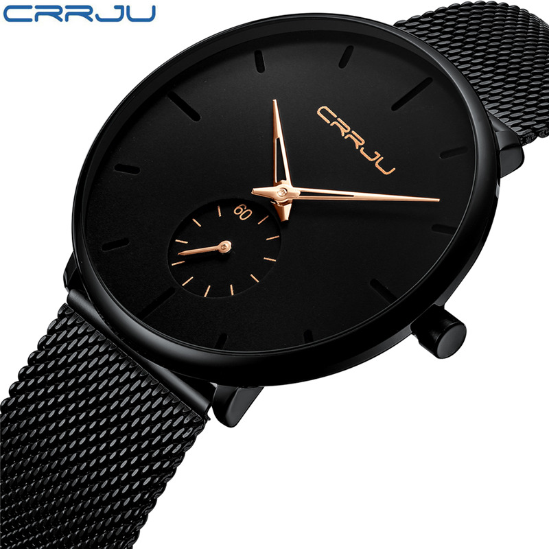 Brand CRRJU Luxury Men Watch Quartz Elegant Black Watches Stainless Steel Cute Wristwatch Male Erkek Kol Saati Relogio Masculino