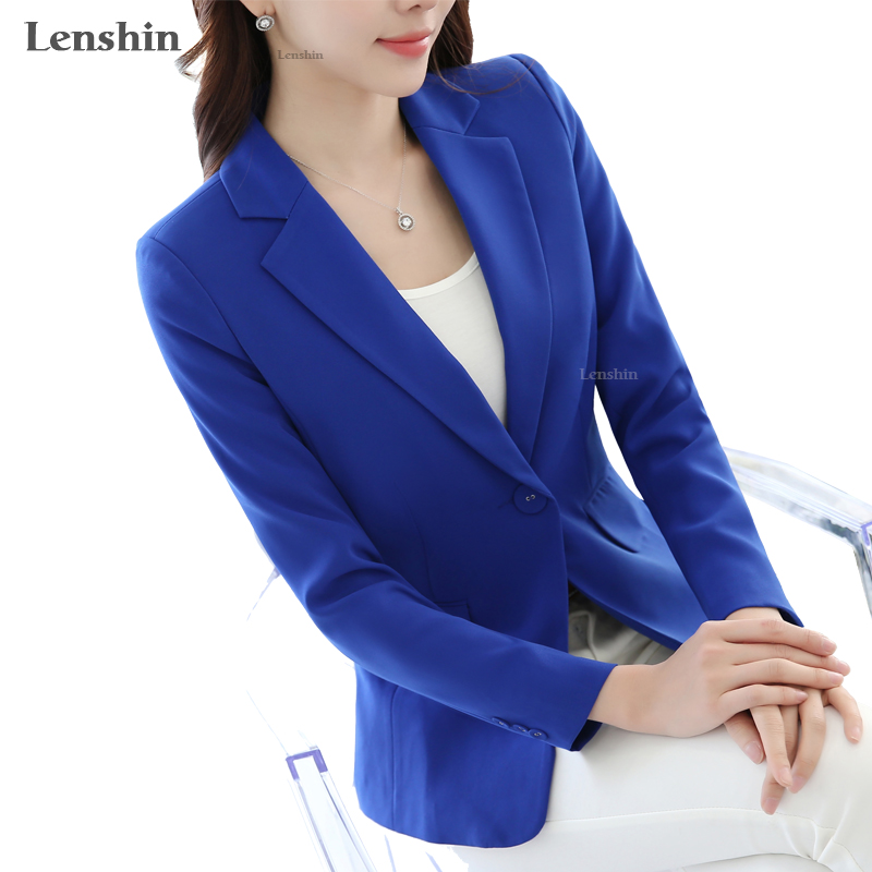 Lenshin Candy Color Single Button Blazer Simple Style Top Business Jacket For Women Work Wear Office Lady Elegant Female Coat