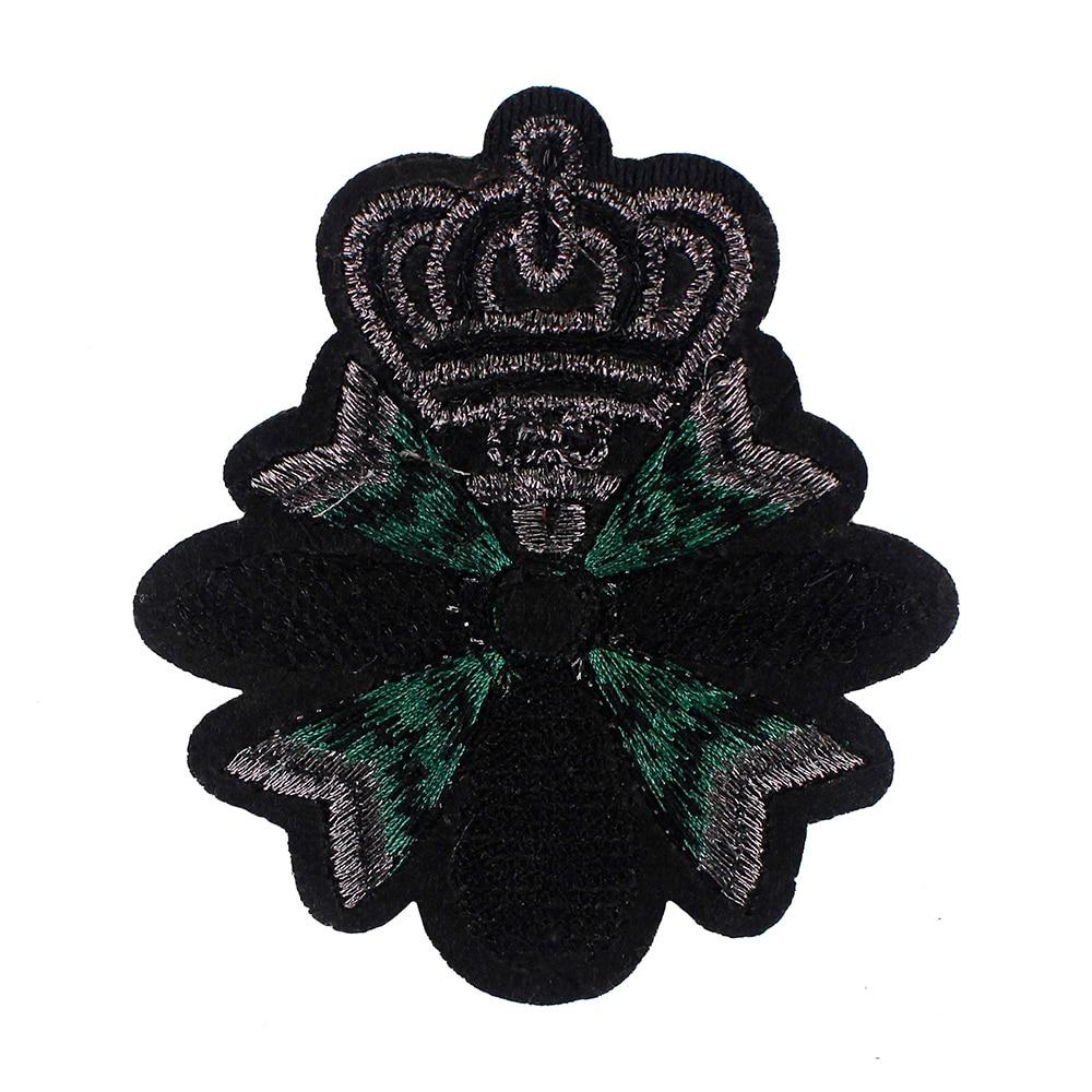 abeja 1 pieza B parches nuevos para pantalones ropa decorados Insignias vintage de seda india con dise/ño de corona