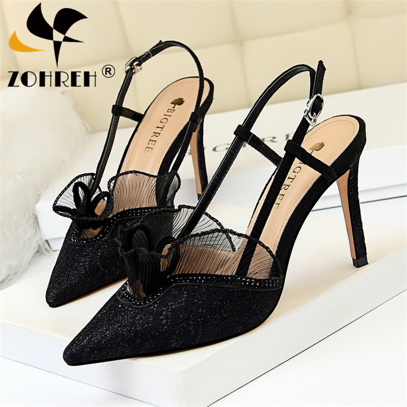 2019 Women High Heels Shoes Summer Women Sexy Lace Party Wedding Pumps Woman Pointed Toe Thin Heels Platform Shoes Lady Sandals