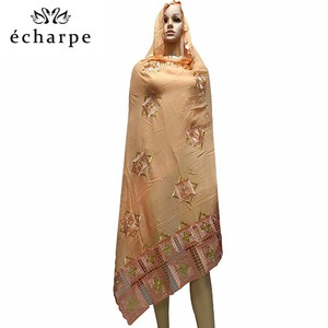 Image 5 - % 100% pamuk eşarp afrika kadınlar büyük eşarp müslüman kadınlar nakış başörtüsü eşarp başörtüsü EC126