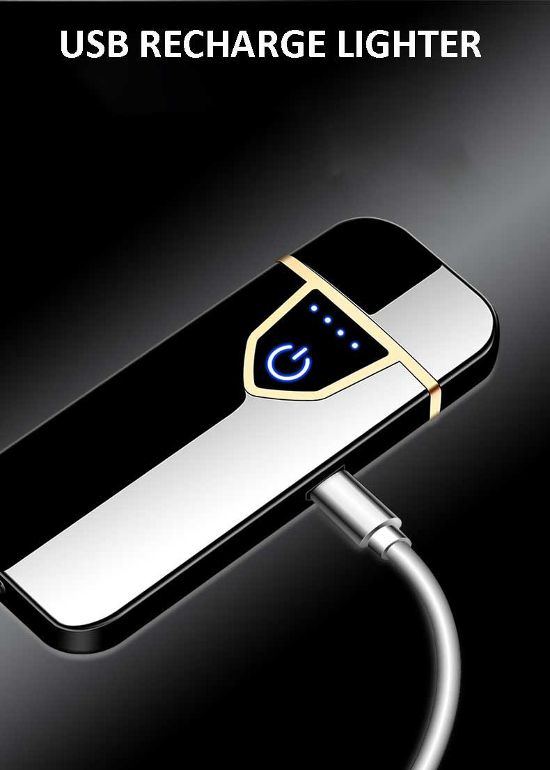 Metal Electric Lighters Recharging Lighter USB Windproof Cigarette Lighter