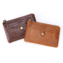 New Genuine leather Man Business Credit card holder RFID slim male wallet Thin Short Case for cards Small Coin wallet for men