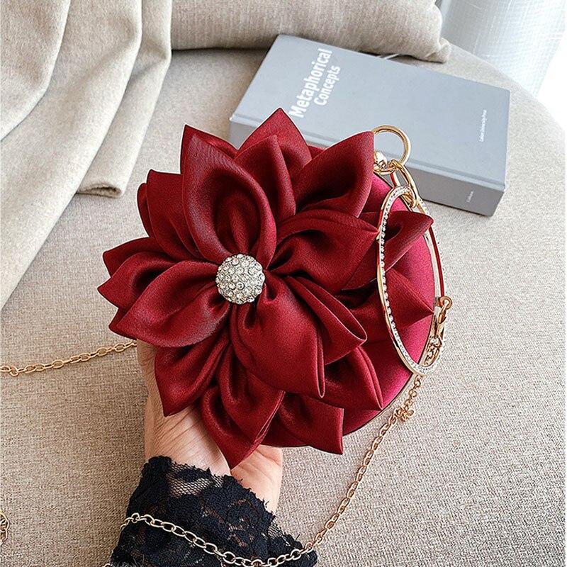 Red Flower Clutch Purse  Women Round  Evening Bag Crystal Diamond Wedding Silk Handbag Exquisite Chain Shoulder Bags FTB154