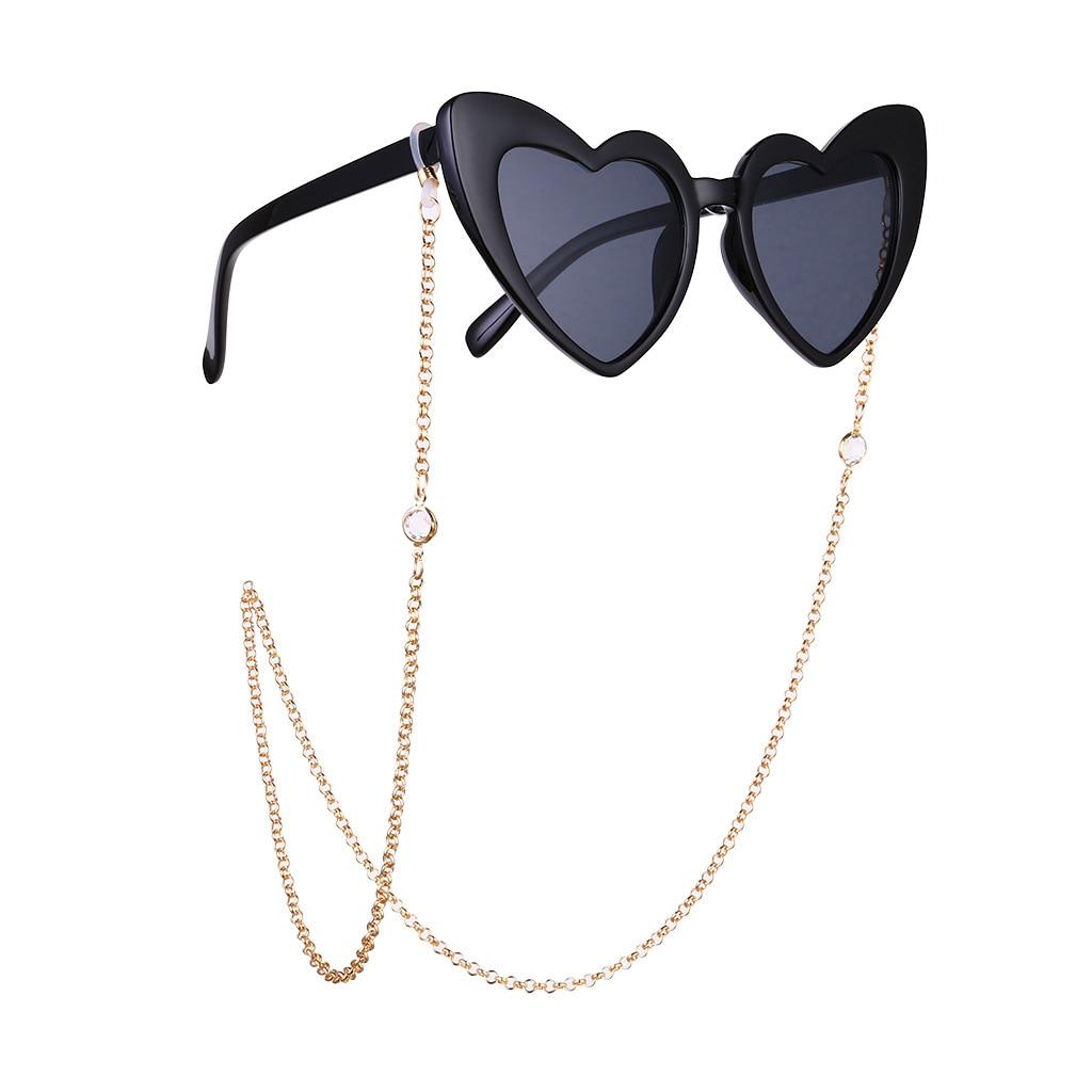 2020 Luxury Trendy Women's Crystal Punk Gold Metal Eyewear Chain Glasses Anti Slip Eyewear Accessories Glasses Strap Landyard