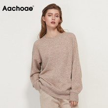 Aachoae O Neck Knitted Sweater Women Casual Batwing Long Sleeve Ladies Tops Solid Pullover Jumper Sweater Female Sueter Mujer