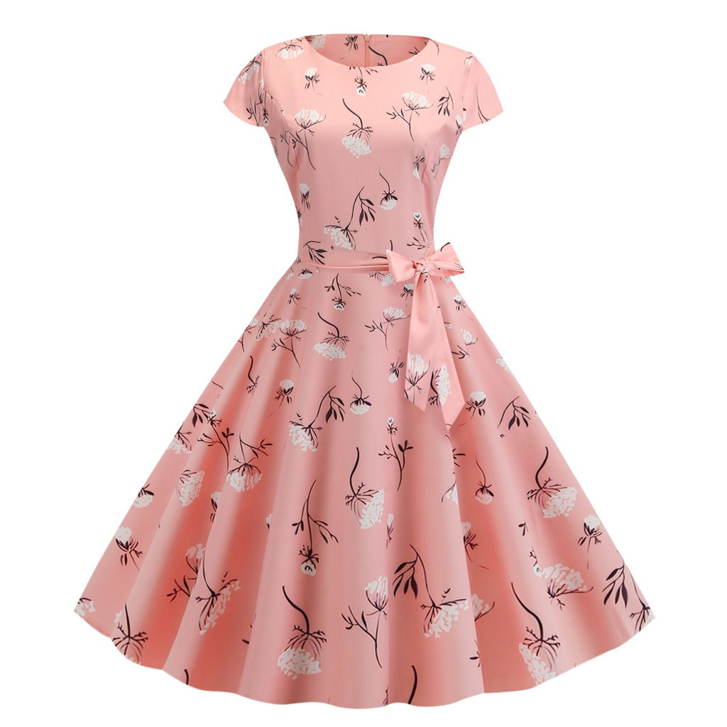 Women's Print Vintage Hepburn Style Dress Fit and Flare Silhouette Short Sleeve Length Natural Waistline Sashes O-Neck XJ*