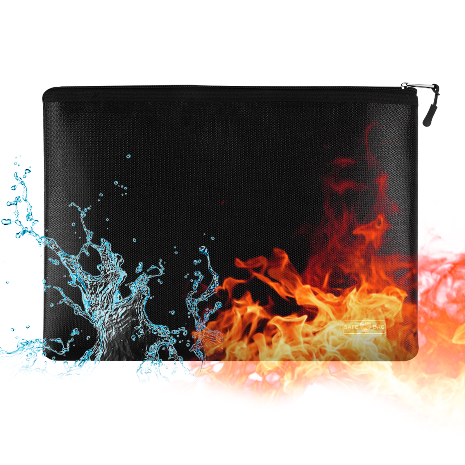 Fireproof Document Bag Fireproof and Waterproof File Folder Money Bag Safe Storage Pouch Holder Organizer with Zipper Closure