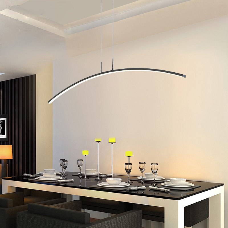 Nordic Restaurant Teahouse Lamp Modern Dining Table Arc Line Led Bedroom Bedside Lamp Study Reading Chandelier Pendant Lights Aliexpress