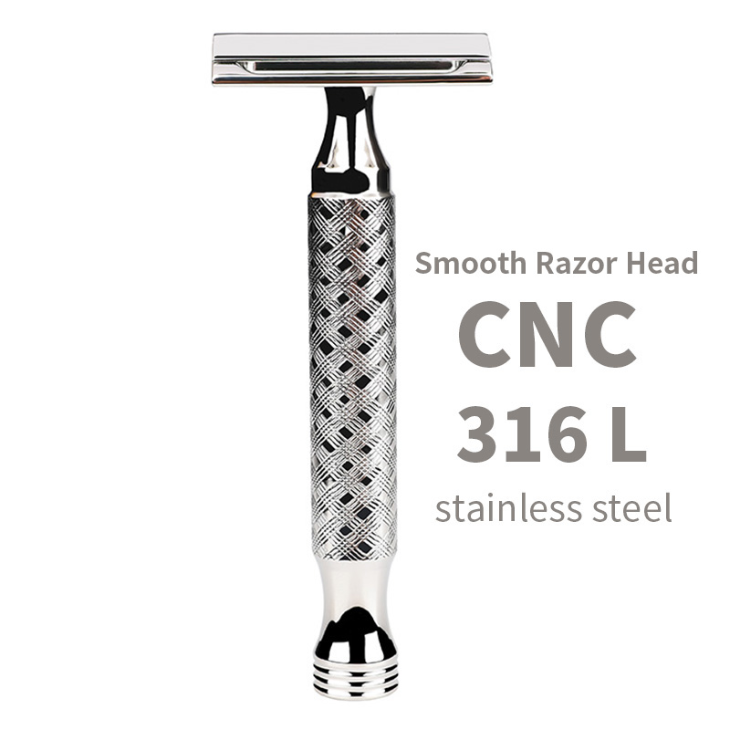 CNC 316L Stainless Steel Men's Manual Classic Hand Polished Double Edge Safety Razor Smooth Head Waterproof and Rustproof