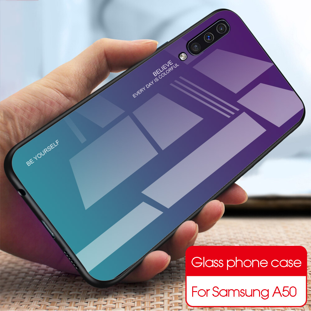 Tempered <font><b>Glass</b></font> <font><b>Case</b></font> For <font><b>Samsung</b></font> <font><b>Galaxy</b></font> A60 A70 A80 A10 A20 A20E A30 S A40 A50 A50S A5 A7 2017 Phone Cover M10 <font><b>M20</b></font> M30 TPU Bumper image