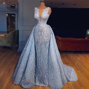 Роскошные детские синие вечерние платья 2020 со съемной юбкой, платье для выпускного вечера в Африканском мусульманском стиле, Robe de soiree ...