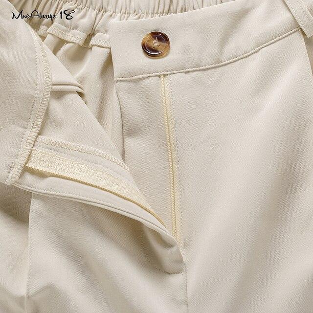 Mnealways18 Vintage Zipper Khaki Trousers Women High Waist Office Pants Ladies Brown Trousers Work Wear Elastic Waist Pants 2020 6
