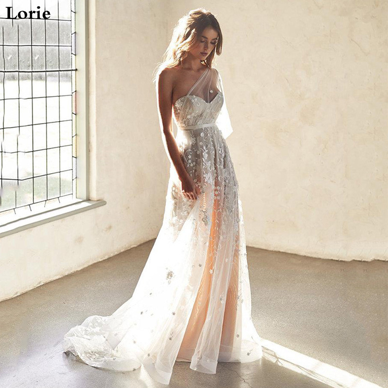 LORIE 2019 Beach Wedding Dresses A Line One Shoulder Sexy Lace 3D Flowers Wedding Gowns Vestidos De Novia Boho Bride Dresses