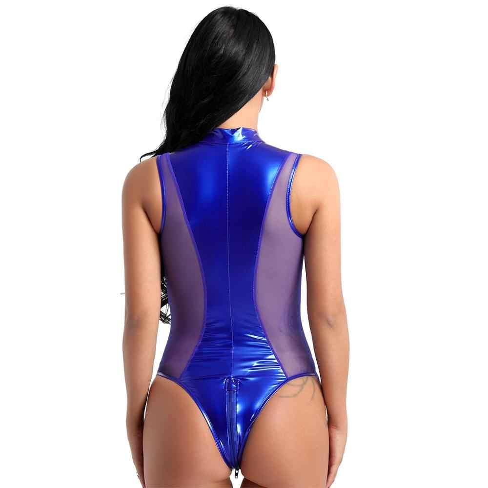Terpesona Wanita Kulit Paten Lingerie Seksi Thong Baju Tidur Seragam Klub Malam Pakaian Lateks Bodysuit Pakaian Dalam Erotica Feminina