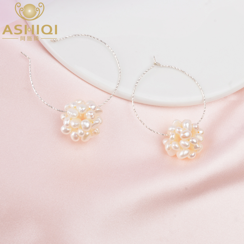 ASHIQI Real 925 Sterling Silver Hoop Earrings Natural Freshwater Pearl Fashion Jewelry For Women 2020