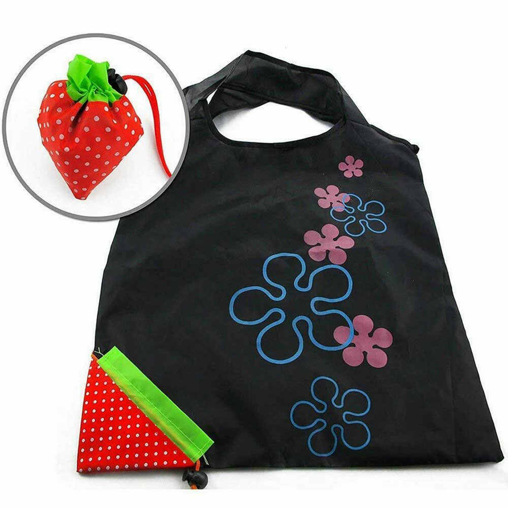 Reusable Foldable Shopping Bags Eco-Friendly Carrier Bags Tote Fruit Vegetable Handbag Fold Away Ladies Clip Strawberry Bags
