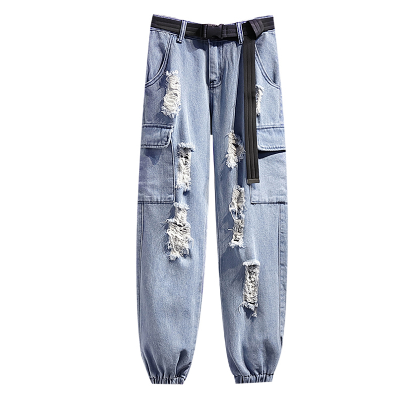2020 Spring Loose BF Holes Cargo Pants Female Plus Size 2XL Belt Jeans Pants High Waist Cropped Harem Cargo Pants
