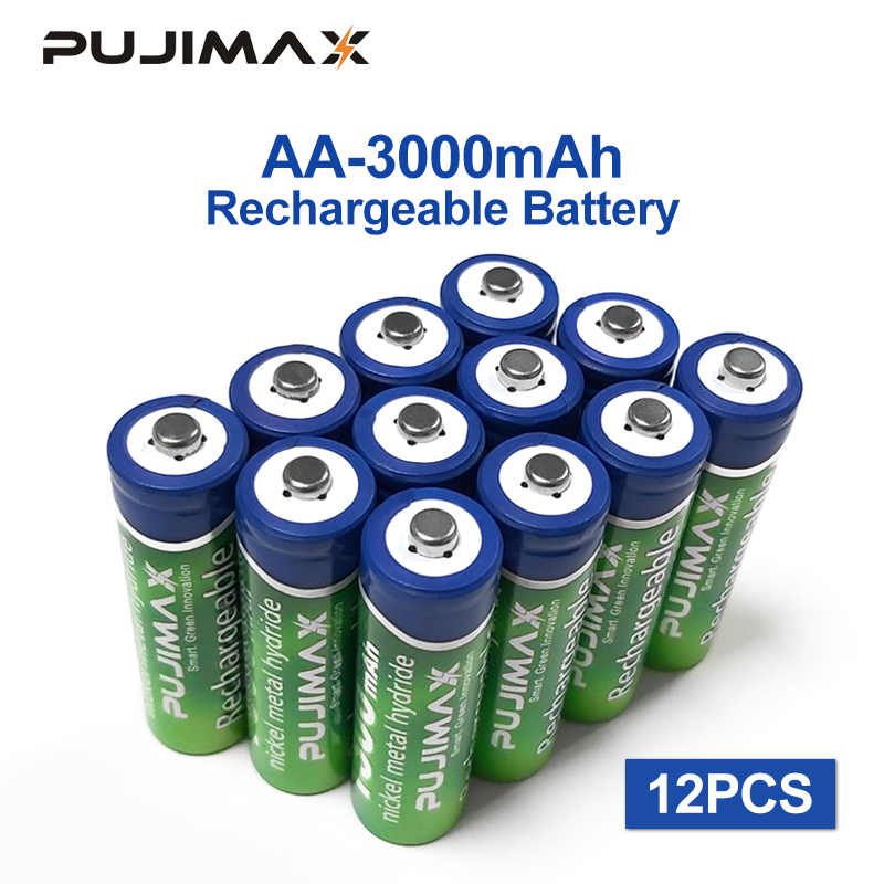 PUJIMAX Rechargeable battery AA Battery <font><b>1.2V</b></font> 3000mAh 12PCS pre-charged recharge <font><b>ni</b></font> <font><b>mh</b></font> rechargeable battery For camera microphone image