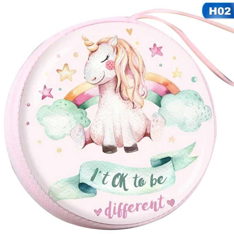 ใหม่ Kawaii การ์ตูน Unicorn กระเป๋าสตางค์มินิกระเป๋าสตางค์เด็กน่ารักขนาดเล็กหูฟัง Organizer เหรียญกระเป๋าสำหรับของขวัญเด็ก