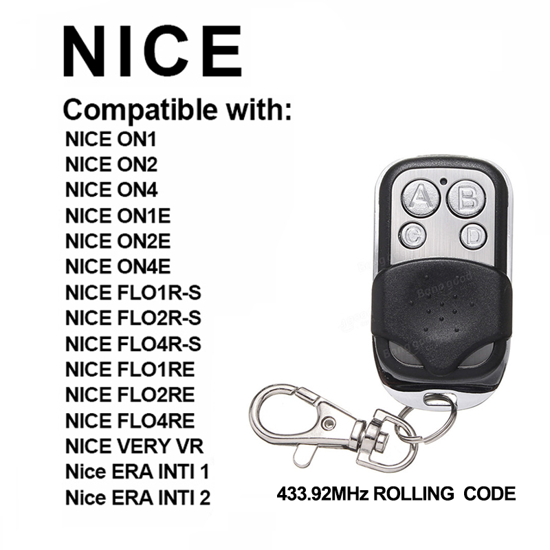 New Remote For NICE FLO1R-S FLO2R-S FLO1RE FLO2RE Garage Gate Door 433.92MHz  Remote Control Rolling Code NICE Command