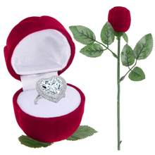 1pc Oorbel Ring Display Box Romantische Engagement Wedding Rose Sieraden Case met Stem Rose Engagement Wedding Gift Box Opslag ca(China)