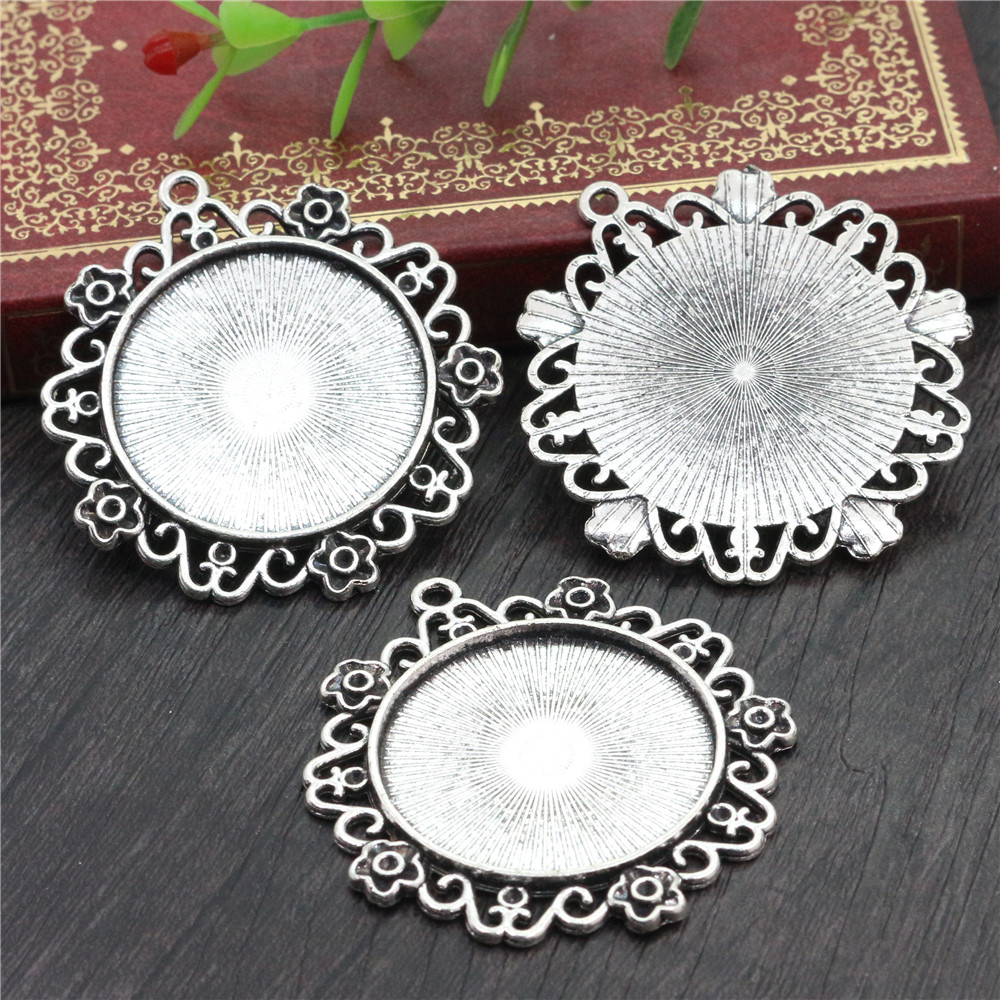 2pcs 30mm Inner Size Antique Silver Plated Flower Style Cabochon Base Setting Charms Pendant (B7-09)