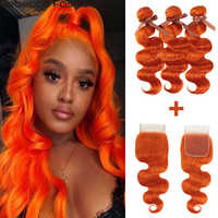 Rebecca Orange Bundles With Closure Brazilian Body Wave Human Hair Orange 3 Bundles With Closure Remy