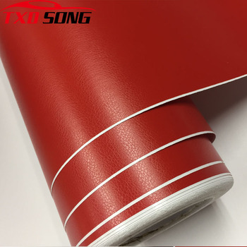 Red Leather Grain Texture Vinyl Car Wrap Vinyl Decal Film Sheet Adhesive Sticker Interior Car Styling Covering Wrapping film image