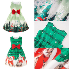 4-11 Years Girls Christmas Dress A-line Party Dresses Summer Crew neck Sleeveless Kids For Clothes D30
