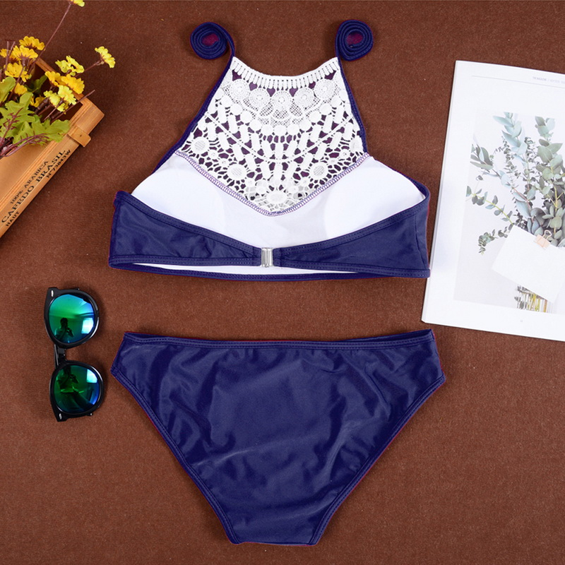 NEW Female 2019 Summer Push Up Swimwear Women Sexy Bikini Set Lace Halter Swimsuit Beachwear Bathing Suit Brazilian Biquinis-3