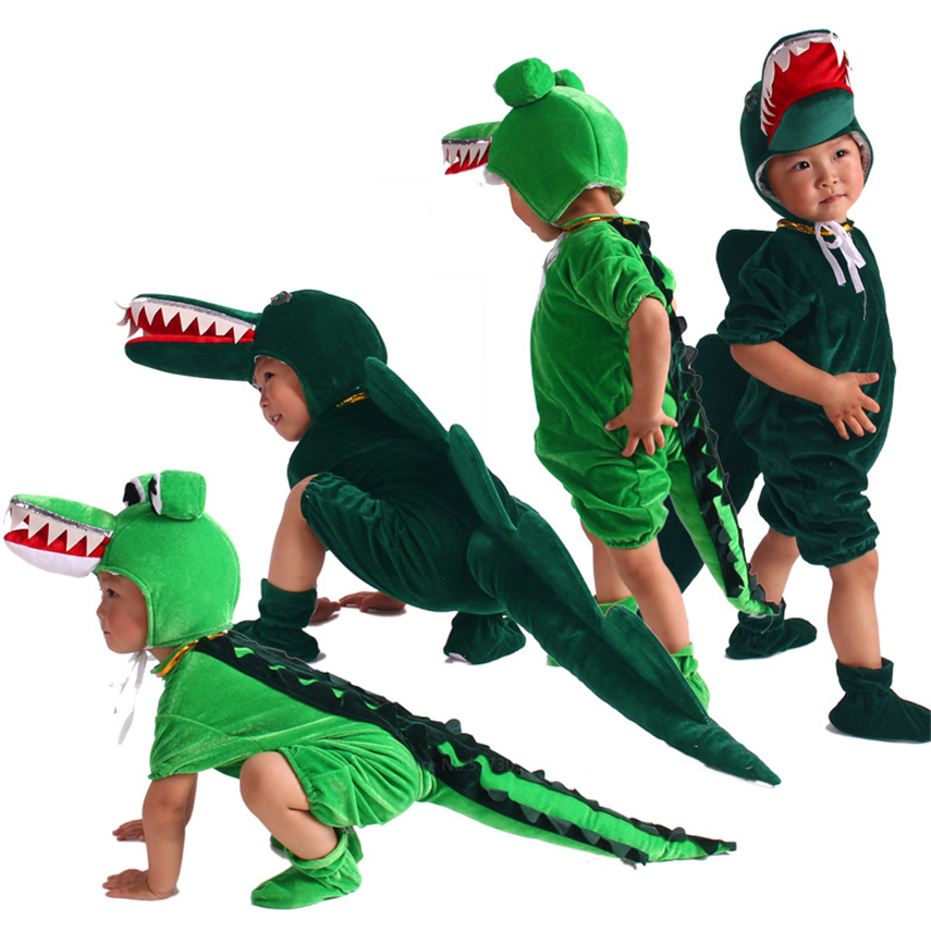 Dinosaur Halloween Costume For Kids Animal Hooded Jumpsuit Dinosaur Cartoon Crocodile Cosplay Animals Boy Girl Carnival Party