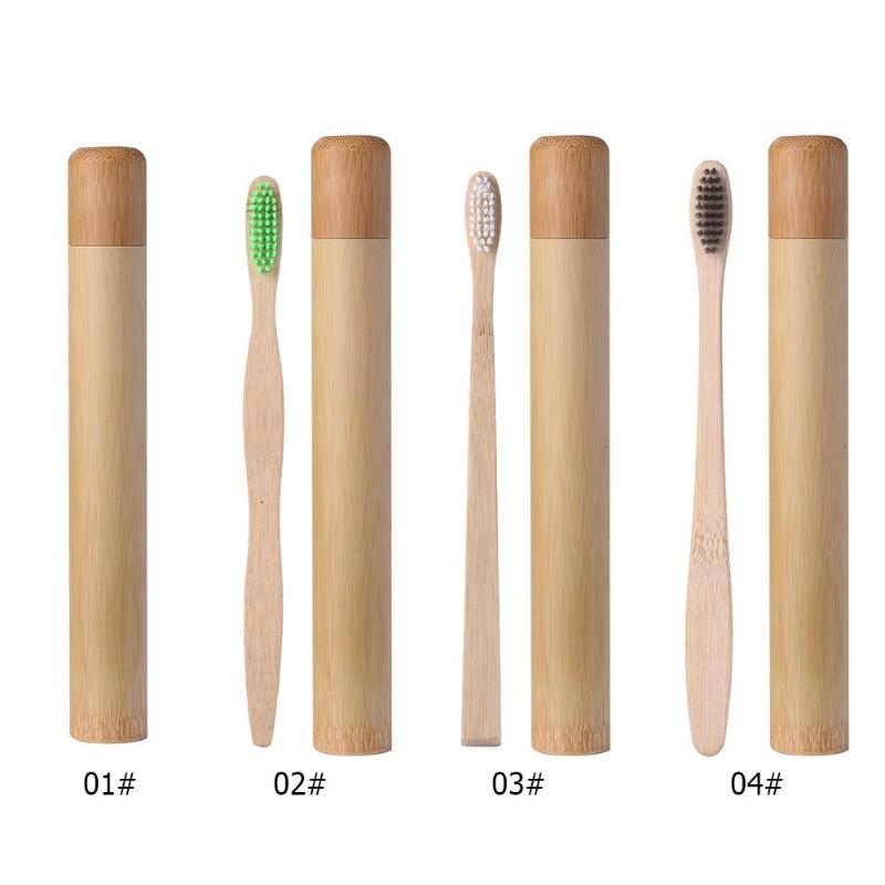 Bamboo Toothbrush Tube Eco Friendly Natural Bamboo Toothbrush and Travel Case Bamboo Safety Hygiene Soft Head Teeth Brush image