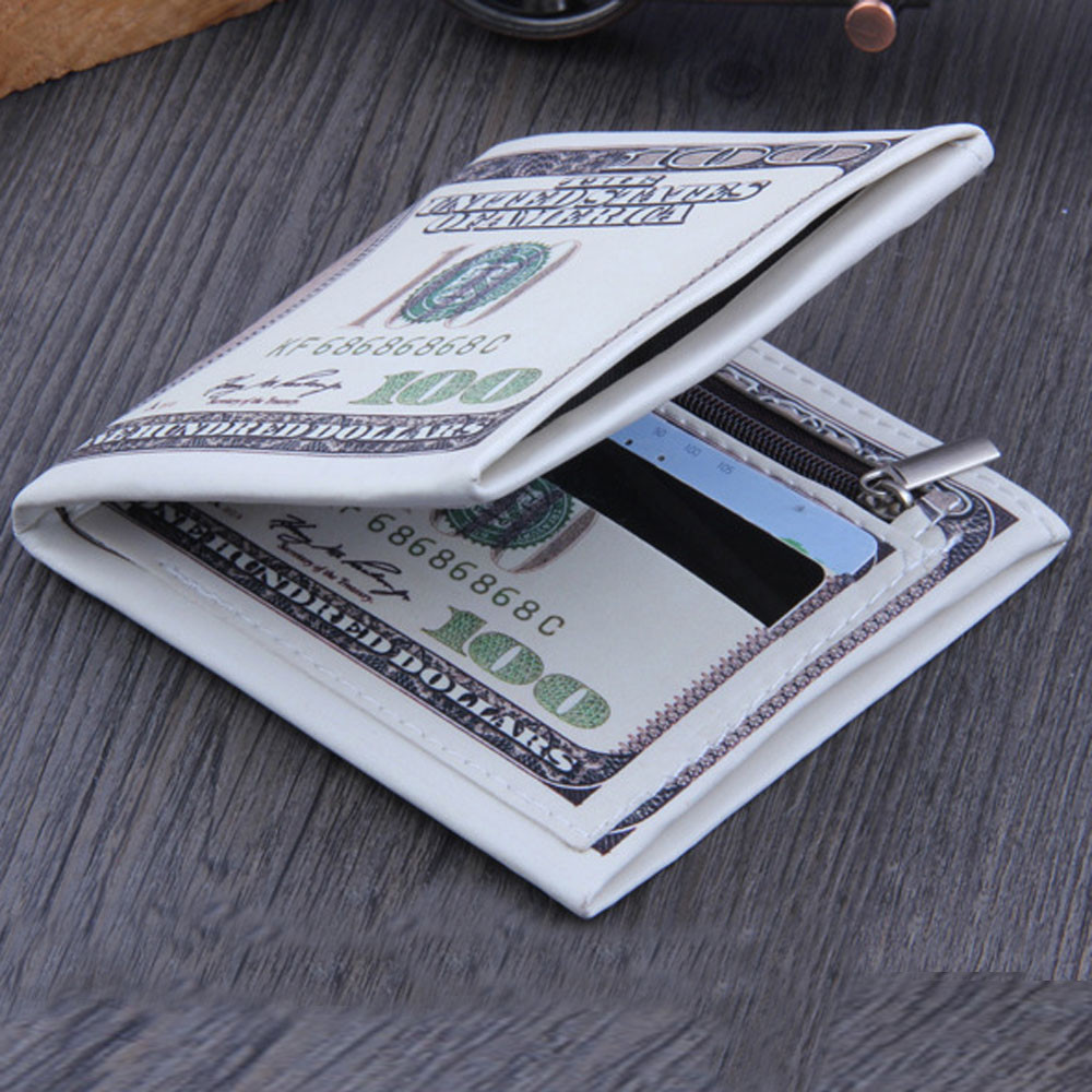 Billetera de cuero para mujer, billetera de cuero blanco con foto y tarjeta de crédito, estilo divertido, 100 $, para hombre, Fabre, nuestro billete de dólar