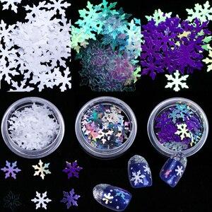 Holographic Glitter Christmas Snowflakes Nail Art Sequins Paillettes White Flakes Spangles Polish Manicure Decorations CHDX01-06