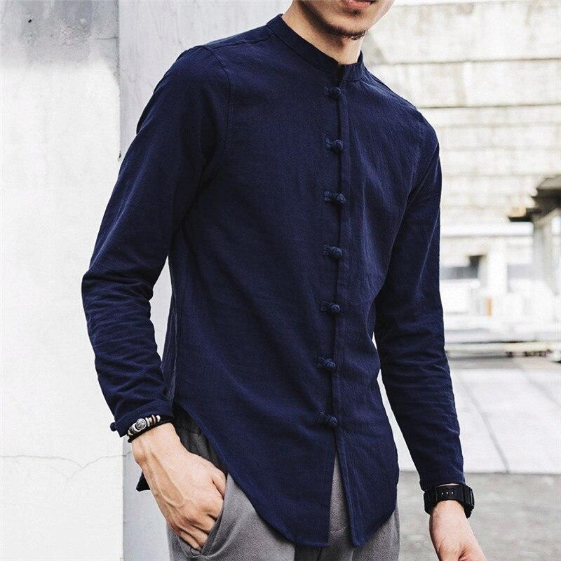 2020 new casual men's shirt casual button buckle long-sleeved linen cotton top