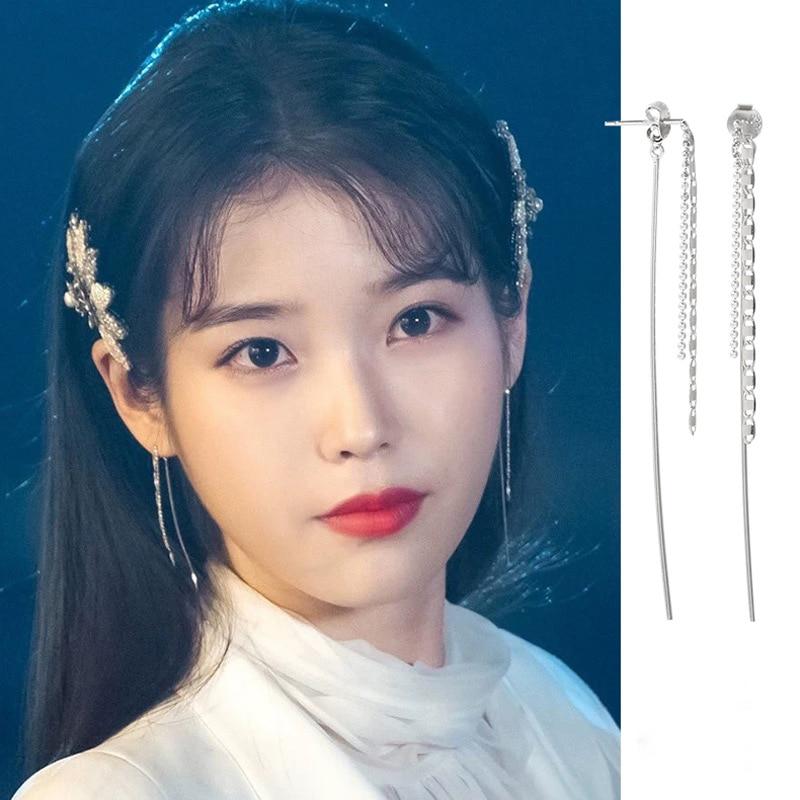 LISM Real 925 Sterling Silver Instagram Hot Luxury Temperament Long Tassel Earrings For Women Ear LIne Fashion Jewelry