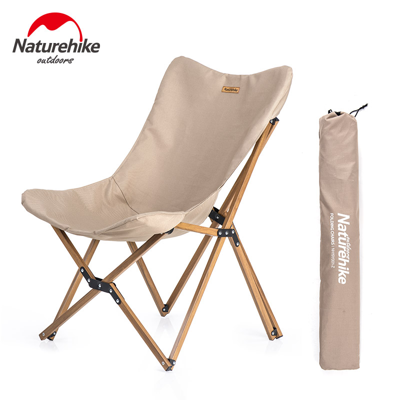 Naturehike Ultralight Wood Grain Aluminum Alloy Fishing Chair Portable Outdoor Camping Chair Beach Picnic BBQ Folding Stool