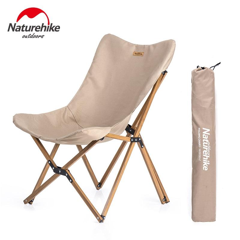 Naturehike Ultralight Wood Grain Aluminum Alloy Fishing Chair Portable Outdoor Camping Chair Beach Picnic BBQ Folding Stool