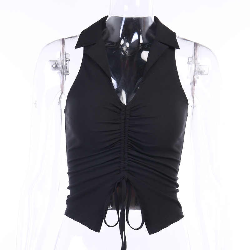 Wannathis Diepe V-hals Sexy Mouwloze Tank Top Vrouwen Zomer Crop Tops Ruches Trekkoord Zwarte Mode Skinny Elastische Streetwear