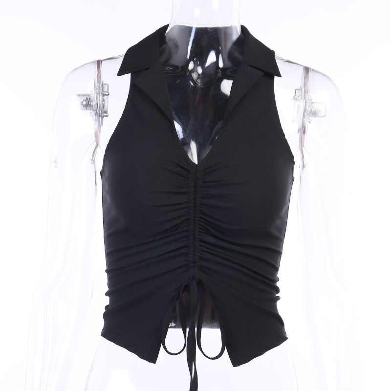 Wannathisディープvネックのセクシーなタンクトップ女性夏の作物はシャーリング巾着黒ファッションスキニー弾性ストリート