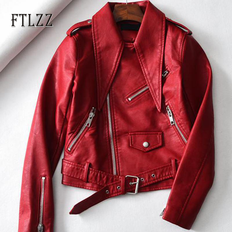 2019 Fashion faux   leather   jacket new spring autumn with belt turndown collar short outerwear new ladies red   leather   coat