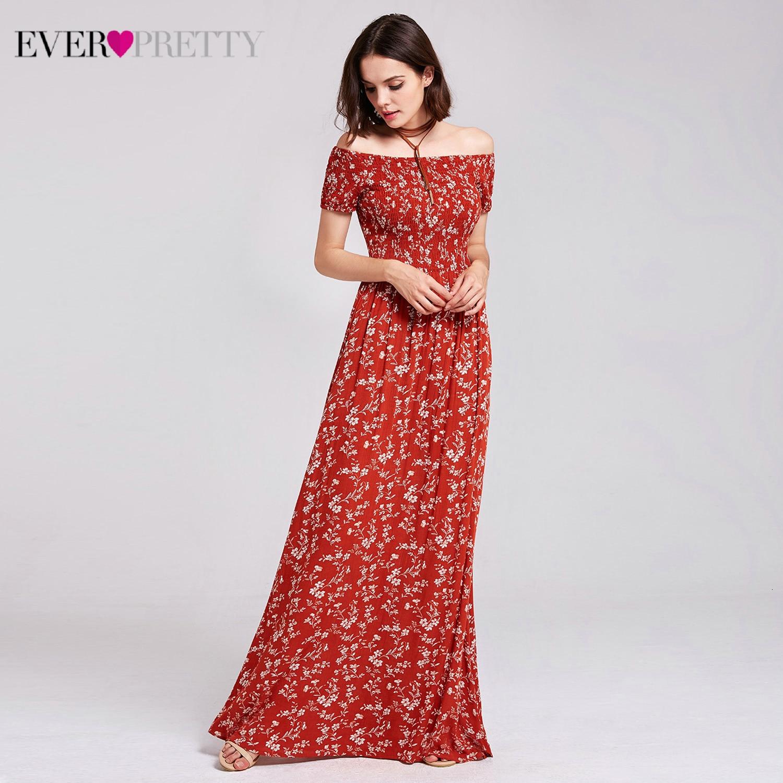 Floral Printed Prom Dresses Ever Pretty AS07117RT A-Line Off The Shoulder Elastic Cheast Simple Beach Dress Vestido De Fiesta